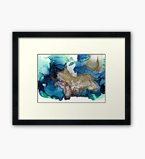 Blue and Gold Abstract, all That Shimmers Framed Print