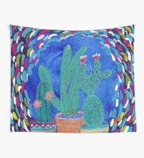Potted Cactus, Colorful Desert Wall Tapestry