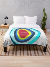 Blue Enso Abstract, Birth Canal Throw Blanket