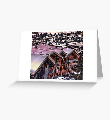The Lights Bounce Brightly in Verbier (HDR) Greeting Card