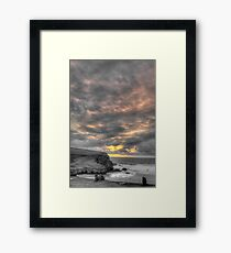 Sunset view from Scarlet Hotel, Mawgan Porth, Cornwall Framed Print