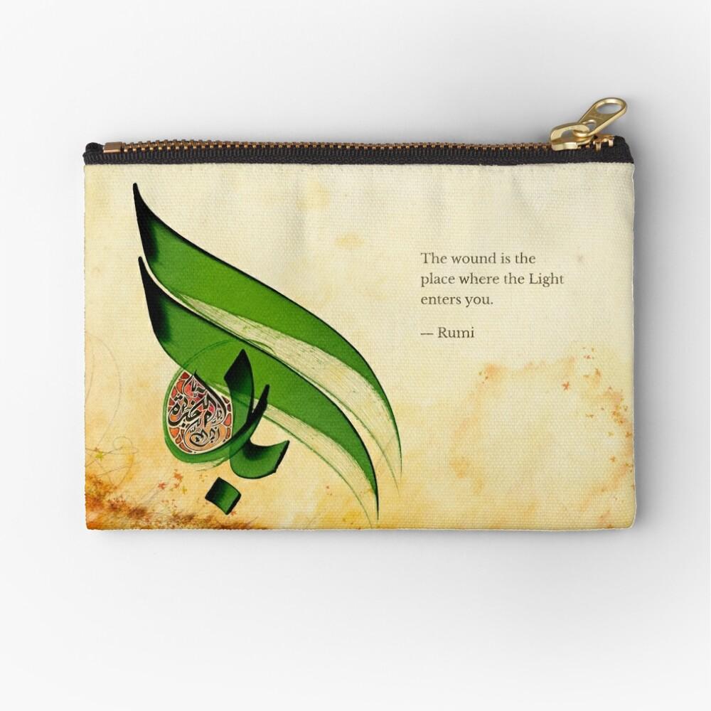 Arabic Calligraphy - Rumi - Light Zipper Pouch