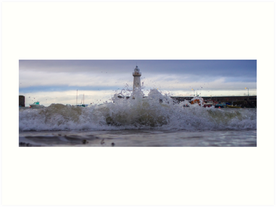 Crashing Waves On Beach - Lighthouse Harbor 2 by verypeculiar