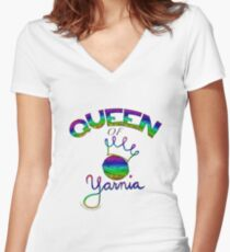 Queen of Yarnia Women's Fitted V-Neck T-Shirt