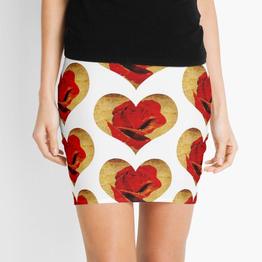 Rose,love,grunge,red. Mini Skirt