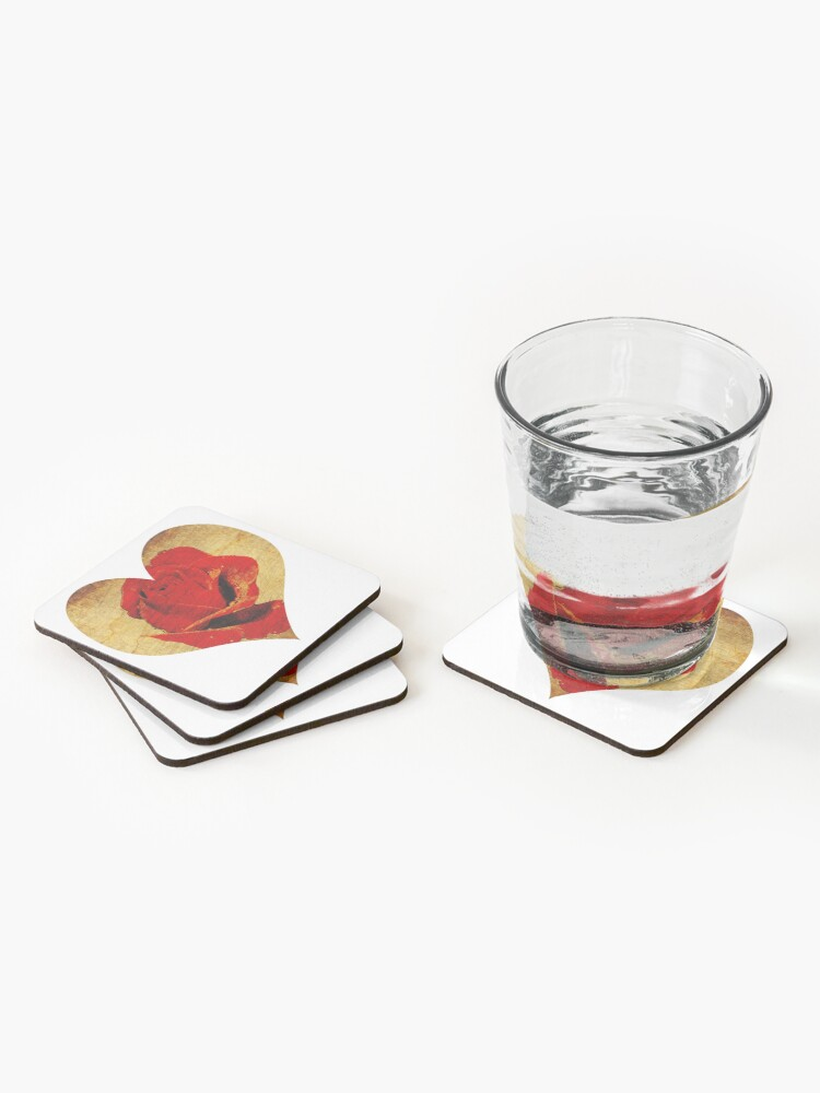 Alternate view of Rose,love,grunge,red. Coasters (Set of 4)