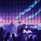 Bathing under Northern Lights by freeminds