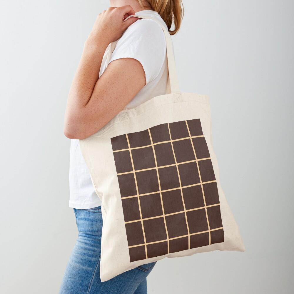 Brown Squares Graph Grid Illusion Tote Bag