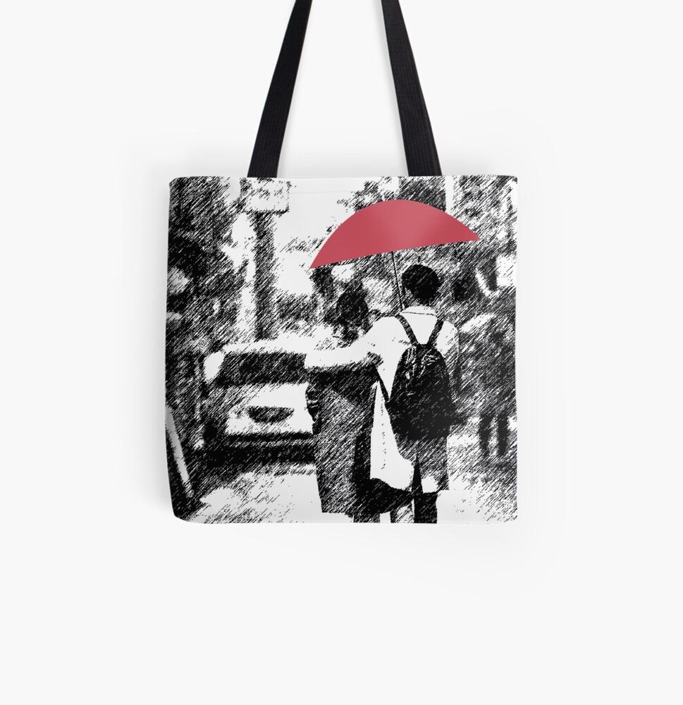Rain All Over Print Tote Bag