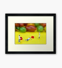 Chef Tumbled In Front Of Colorful Tomatoes miniature art Framed Print