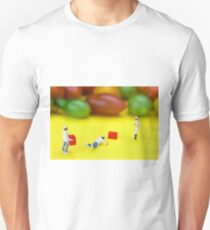 Chef Tumbled In Front Of Colorful Tomatoes miniature art T-Shirt