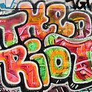 Abstract graffiti detail on the textured brick wall by yurix