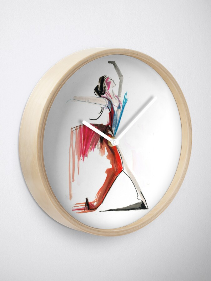 Alternate view of Expressive Ballerina Dance Drawing Clock