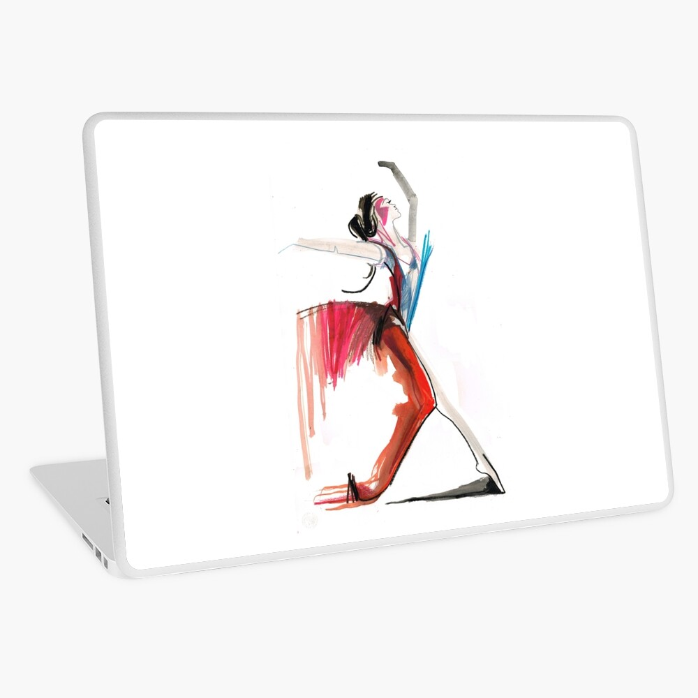 Expressive Ballerina Dance Drawing Laptop Skin