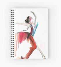 Expressive Ballerina Dance Drawing Spiral Notebook