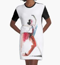 Expressive Ballerina Dance Drawing Graphic T-Shirt Dress
