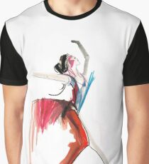 Expressive Ballerina Dance Drawing Graphic T-Shirt
