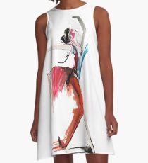 Expressive Ballerina Dance Drawing A-Line Dress