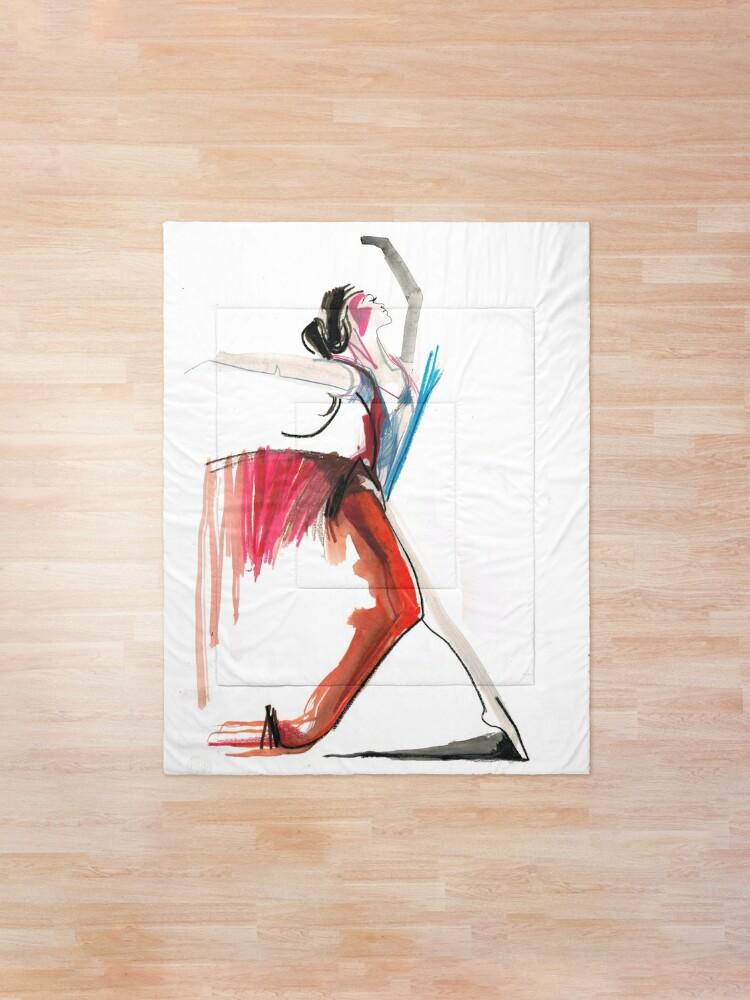 Alternate view of Expressive Ballerina Dance Drawing Comforter
