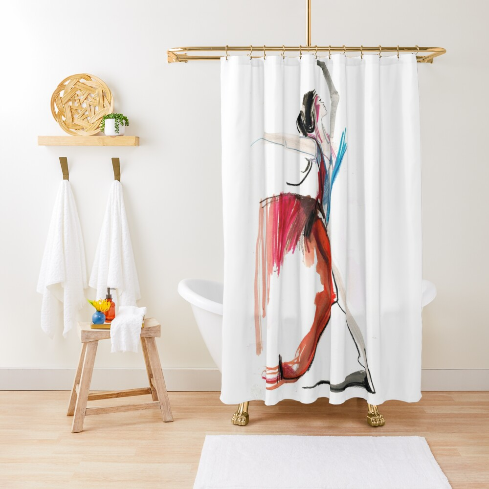 Expressive Ballerina Dance Drawing Shower Curtain
