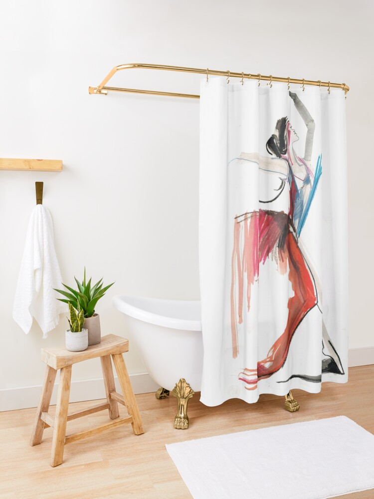 Alternate view of Expressive Ballerina Dance Drawing Shower Curtain