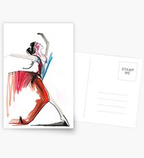 Expressive Ballerina Dance Drawing Postcards