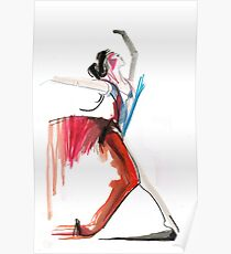 Expressive Ballerina Dance Drawing Poster