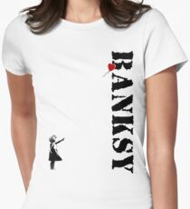 Banksy - litte girl, red balloon Women's Fitted T-Shirt