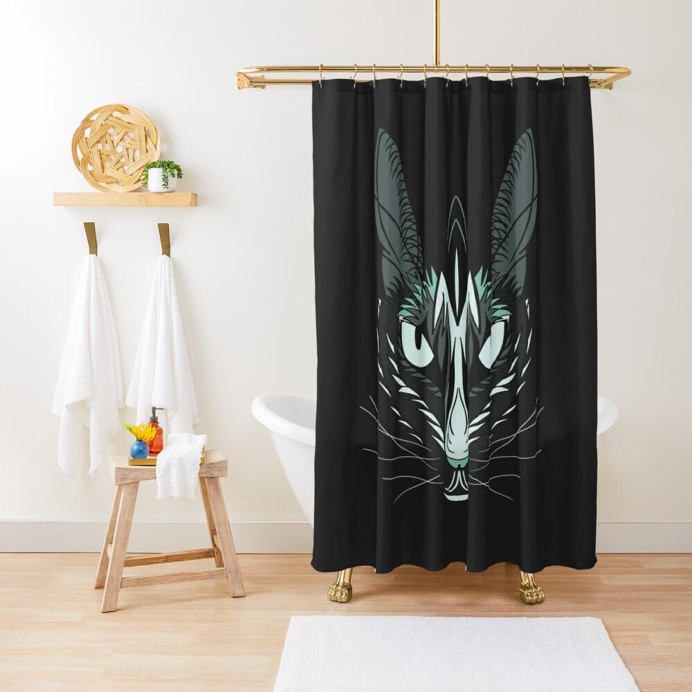 Dark Cat Shower Curtain