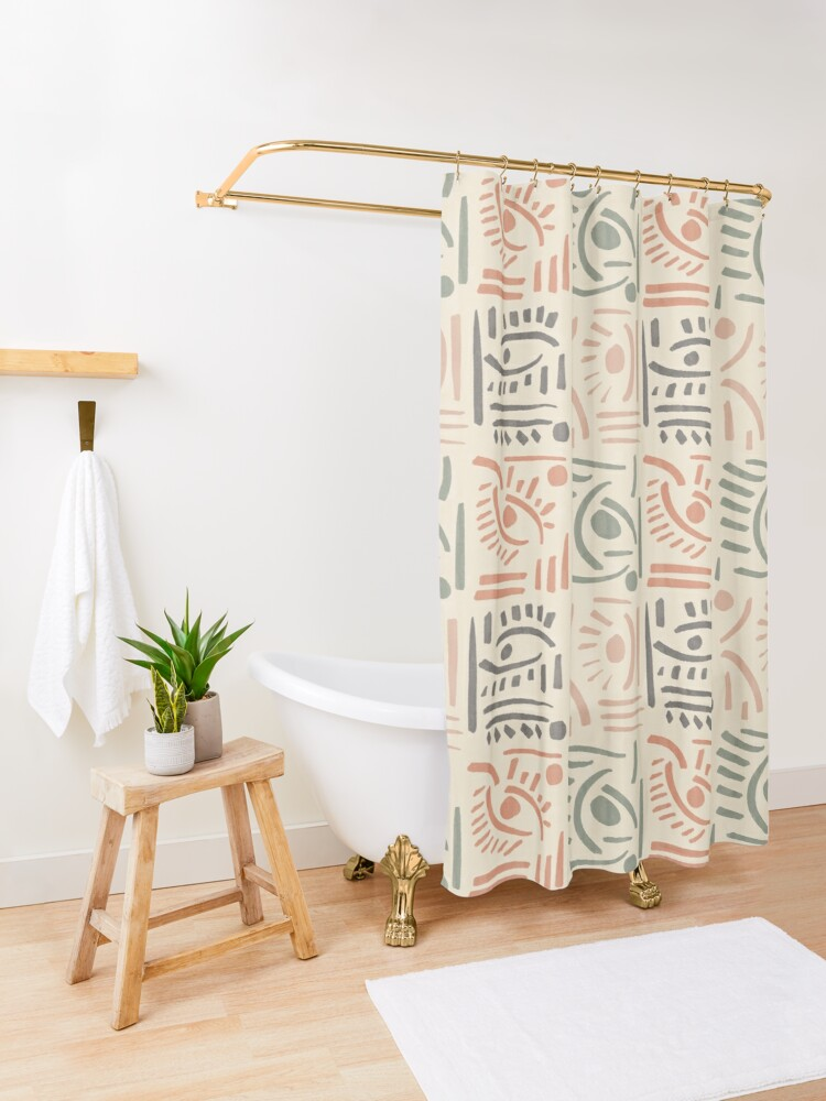 Alternate view of Tribal Eyes #redbubble #pattern Shower Curtain