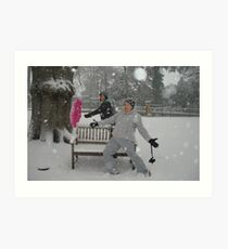 fun in the snow - Woking Surrey Art Print