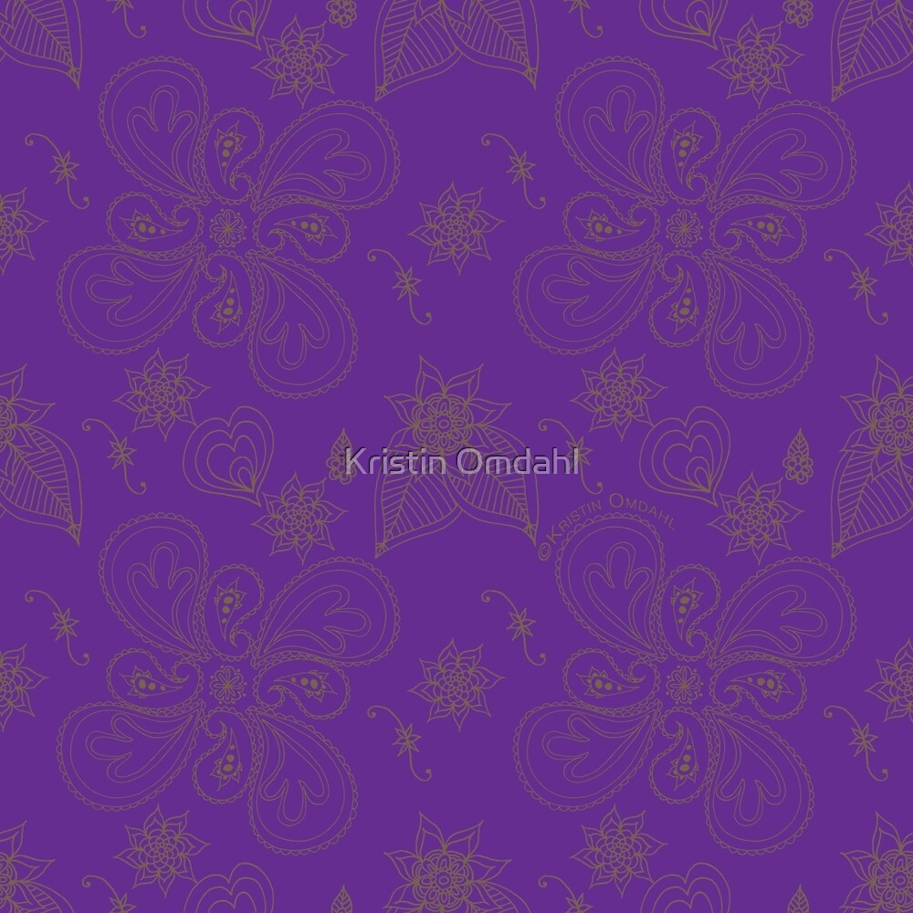 Pure Violet Paisleys by Kristin Omdahl