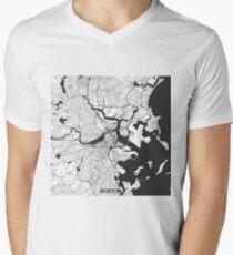 Boston Map Gray Men's V-Neck T-Shirt