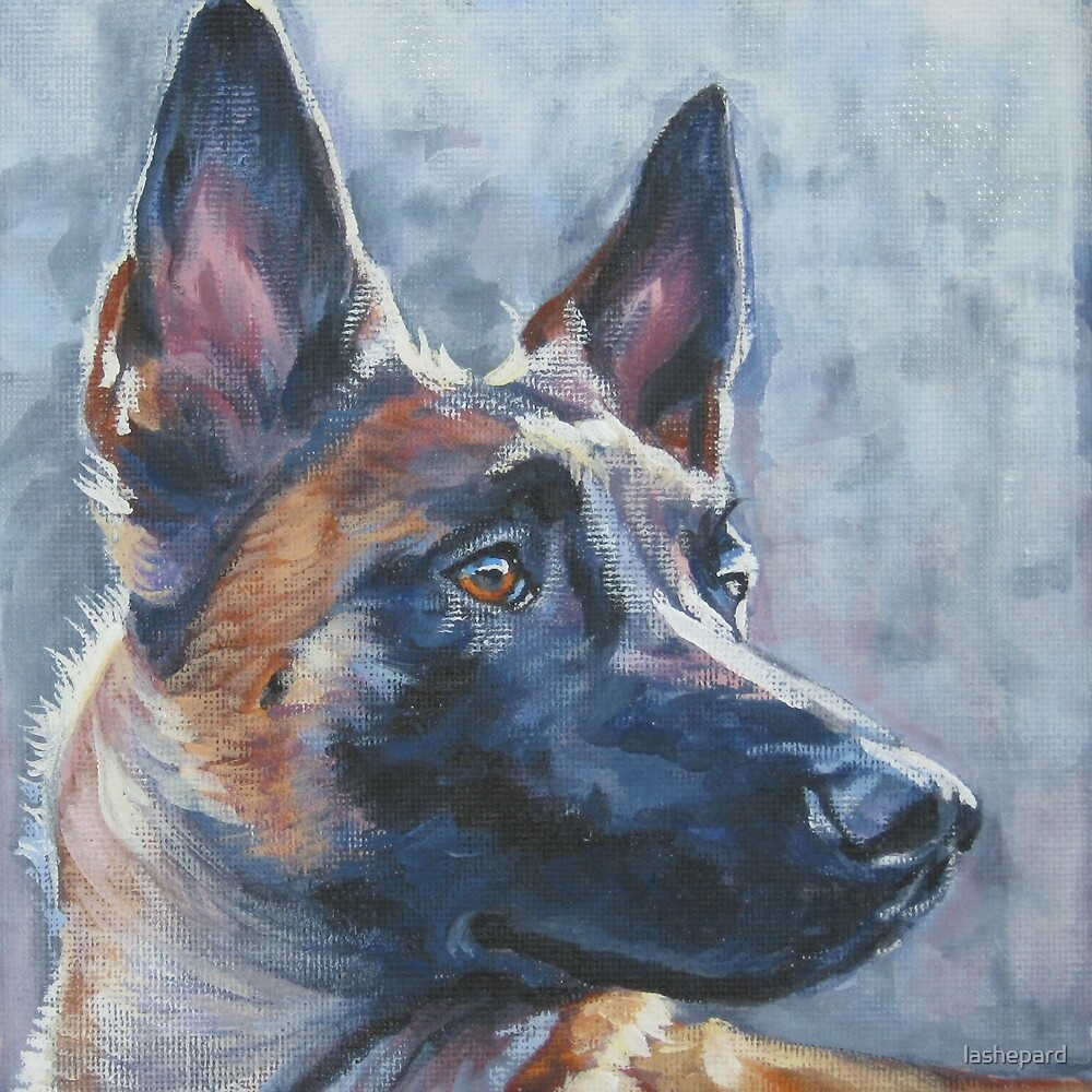 Belgian Malinois Fine Art Painting by lashepard