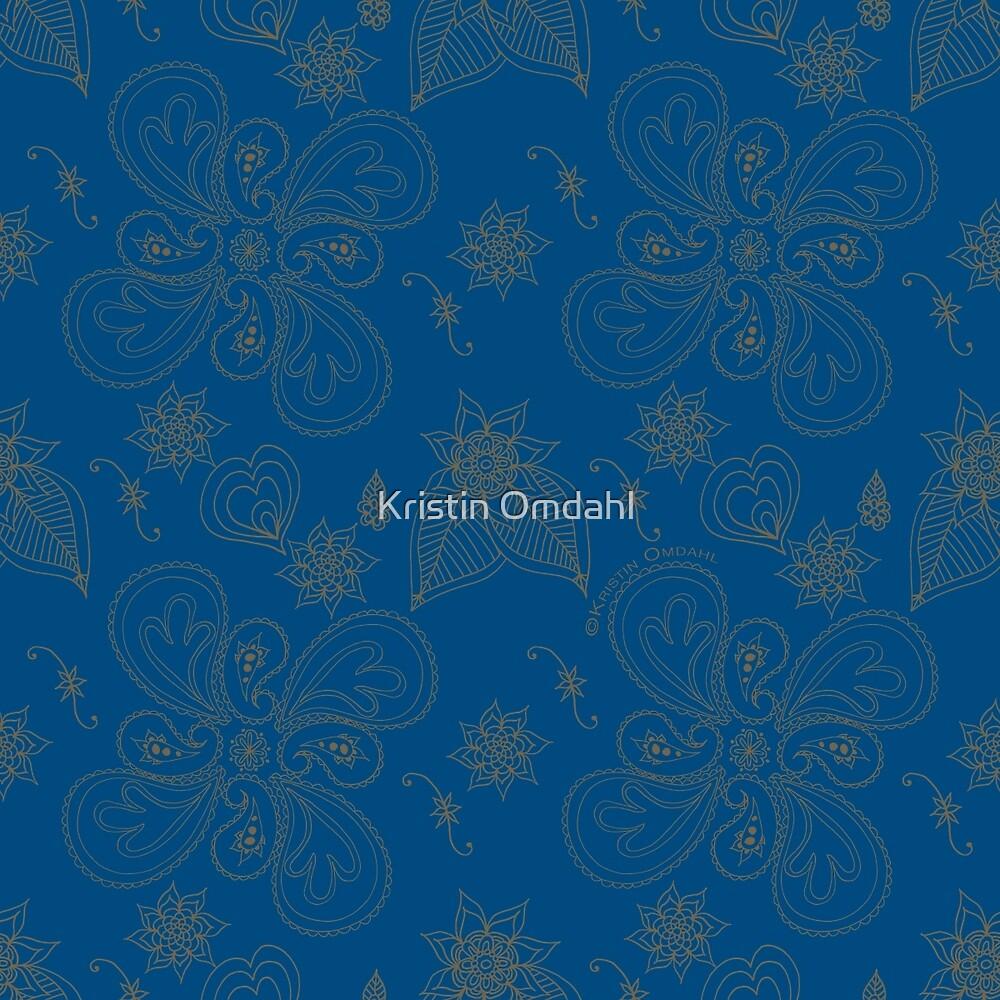Dark Cyan Blue Paisleys by Kristin Omdahl