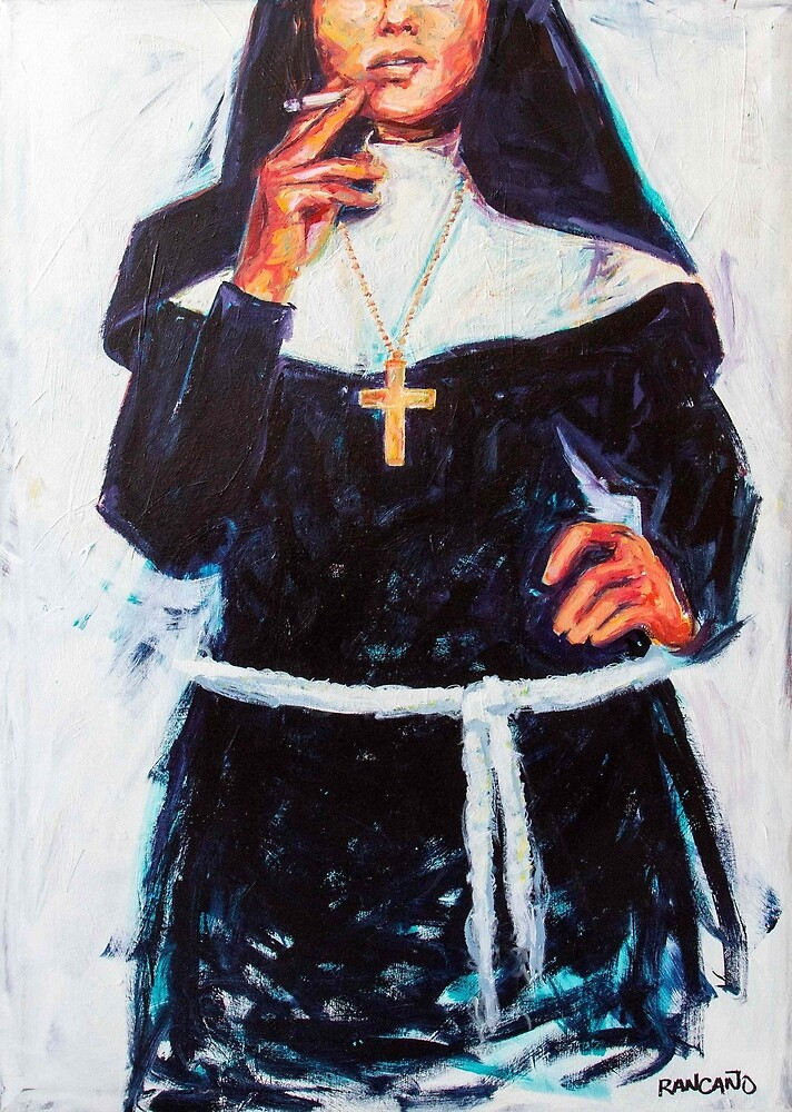 Nun smoking a cigarette by Rancano