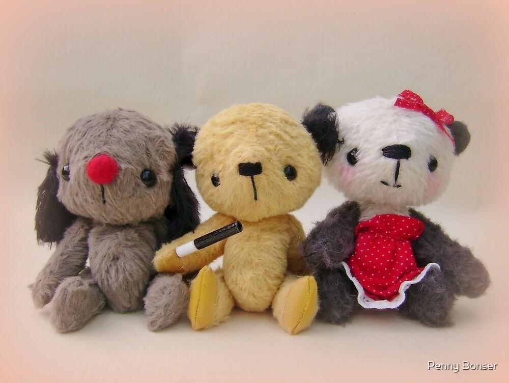Sooty, Sweep and Soo - Handmade bears from Teddy Bear Orphans by Penny Bonser