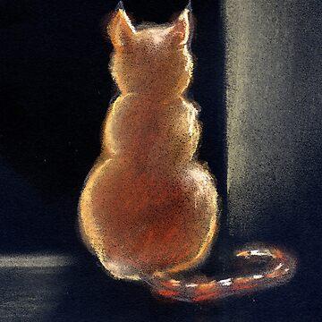 Cat backlit in doorway by DebStuckey