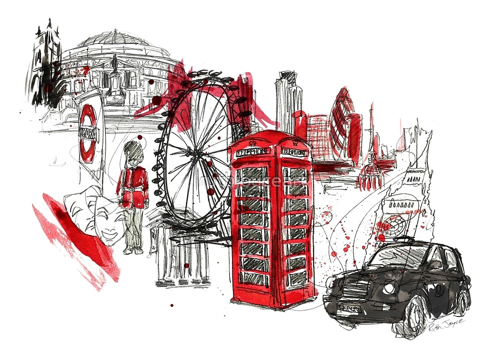 London Town Illustration by ruthjoyceart