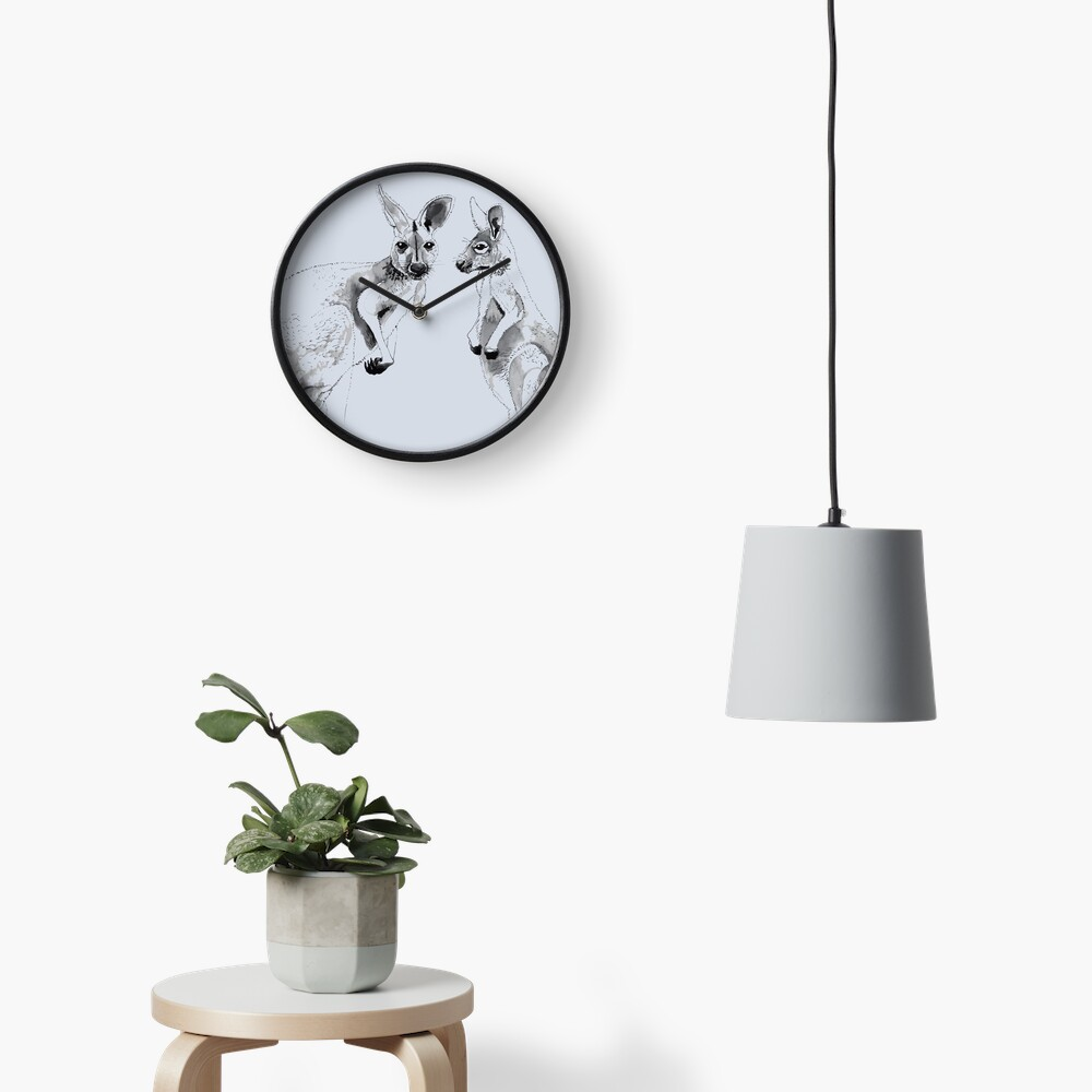 Kangaroos Black and White Clock
