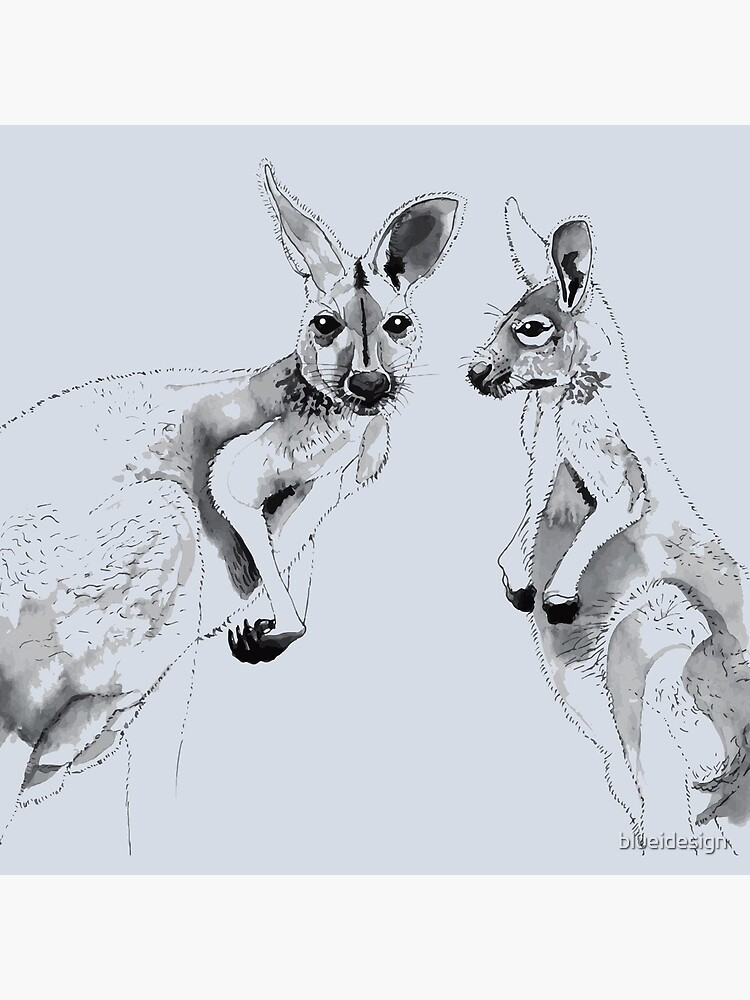 Kangaroos Black and White by blueidesign