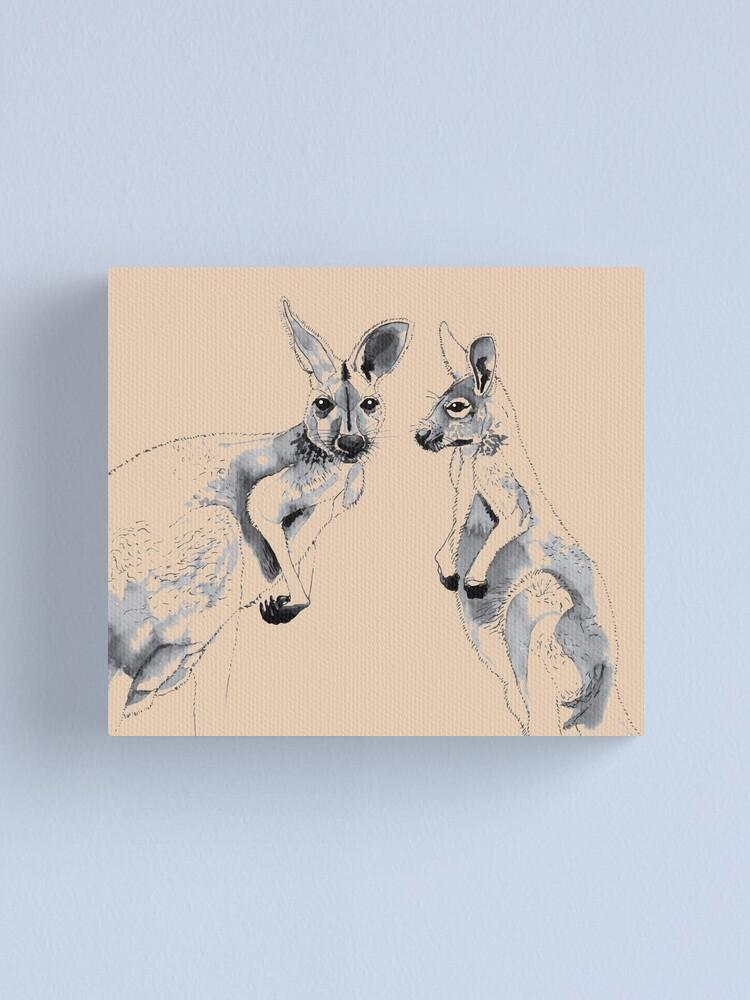 Alternate view of Kangaroos Black and White Canvas Print