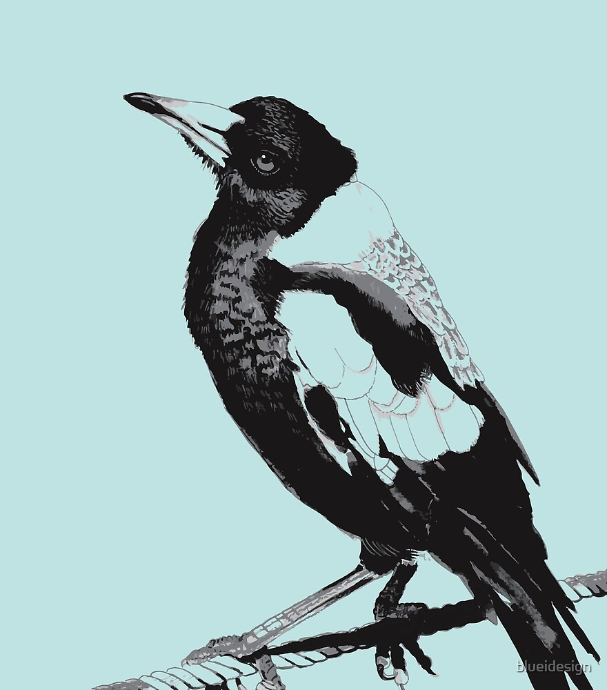 Magpie Black and White by blueidesign