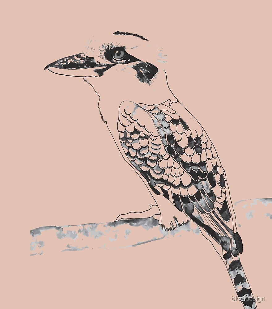 Kookaburra Black and White by blueidesign