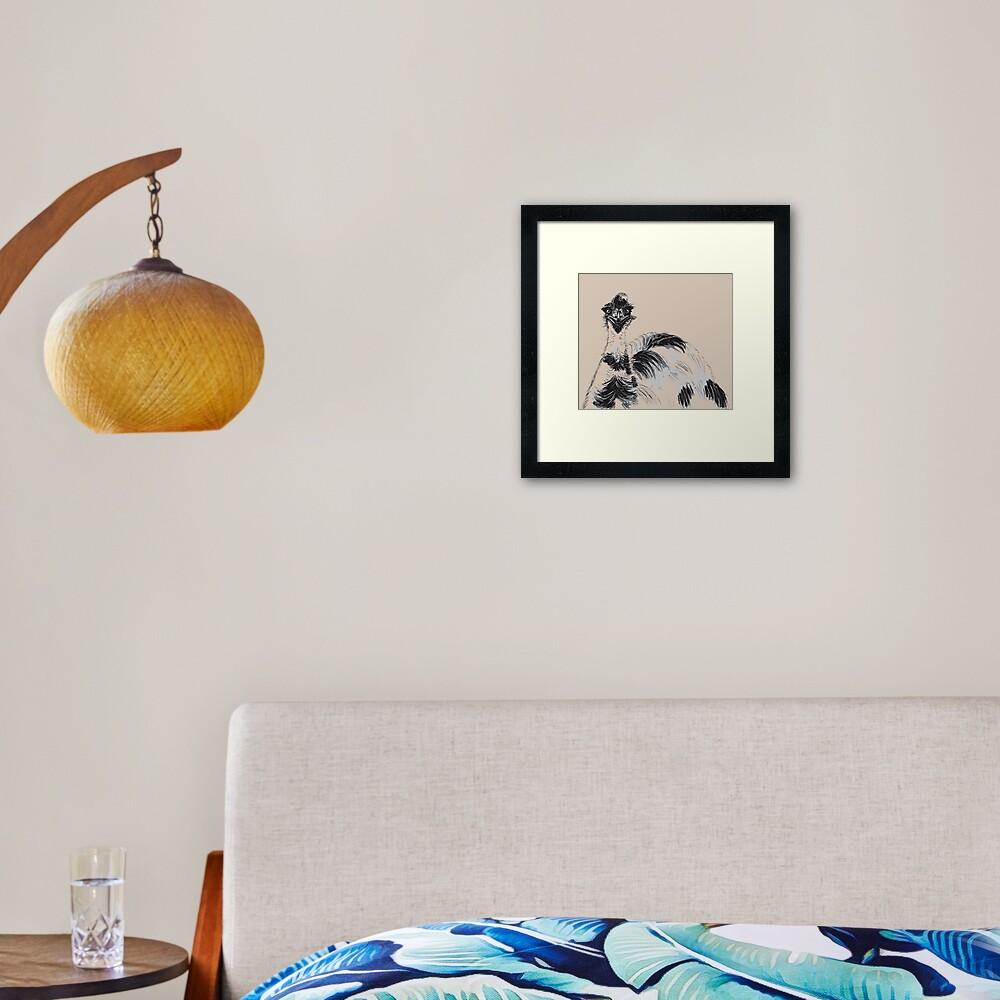Emu Black and White Framed Art Print