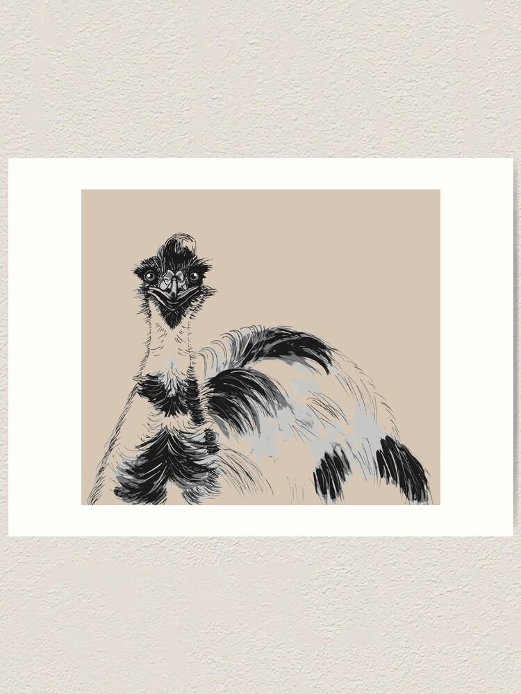 Alternate view of Emu Black and White Art Print
