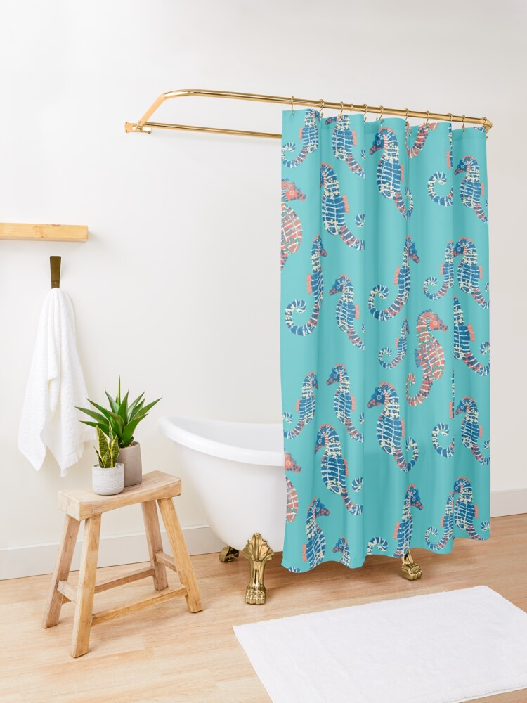 Alternate view of Seahorses Marine Coral Texture Shower Curtain
