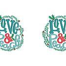 Love & Peace Holiday Mug by mandyfordart