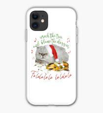 Funny Christmas Cat Falalalala iPhone Case