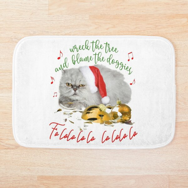 Funny Christmas Cat Falalalala Bath Mat